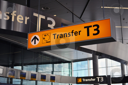 Airport terminal sign stock photo, Airport sign: transfer area at Schiphol International. by Fernando Barozza
