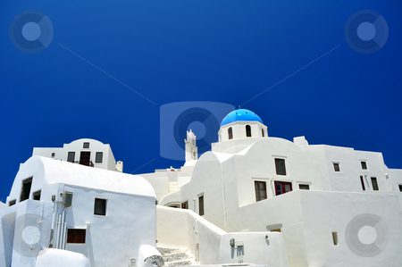 Chapel and white houses in Santorini Island stock photo, Travel photography: Chapel in the beautiful island of Santorini, Greece by Fernando Barozza