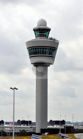 Airport Control Tower stock photo, Air Traffic Control tower. Amsterdam Schiphol International. by Fernando Barozza