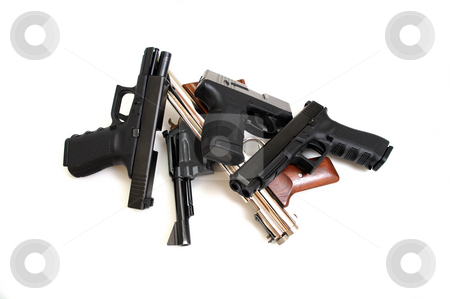 Handguns stock photo, Black guns, Pistols and revolver isolated on a white background. by Lynn Bendickson