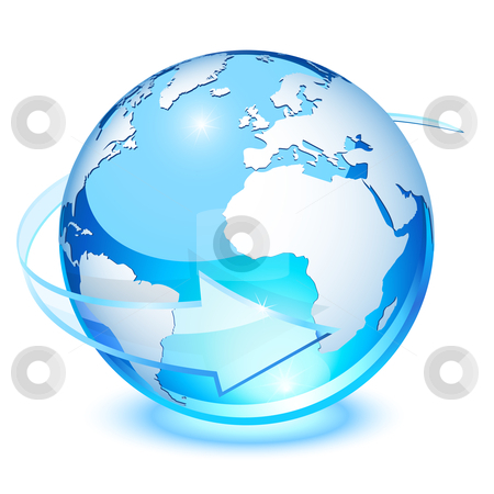 Crystal earth stock vector clipart, Blue crystal earth, with transparent arrow for rotation by Laurent Renault