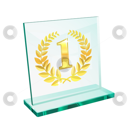 Golden trophy for first stock vector clipart, Golden trophy for first place on a glassy pedestal by Laurent Renault