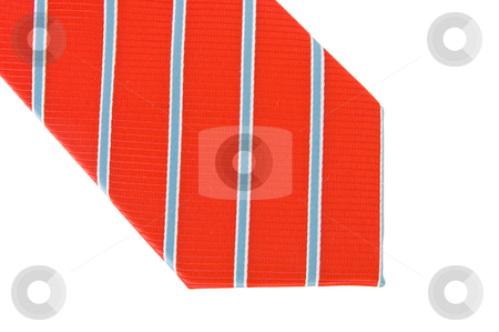 Neck tie stock photo, Red polyester necktie with white and blue stripes by Corepics VOF