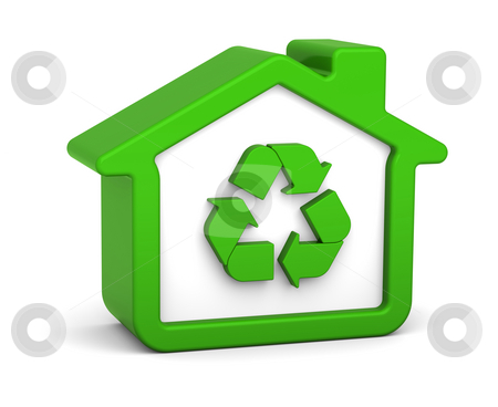 Recycled House stock photo, Green house with recycle sign in a white background by Nuno Andre