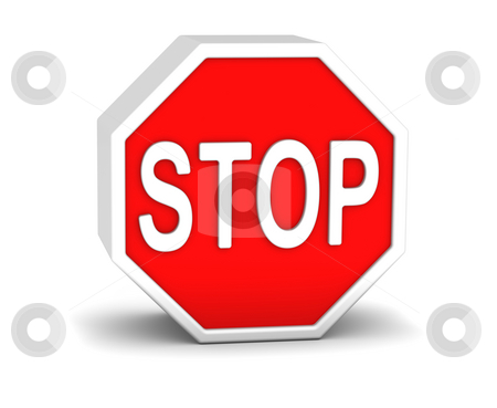 Stop sign stock photo, 3D stop sign in a white background by Nuno Andre