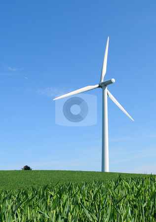 Alone in the wind stock photo, Single windturbine in crop field by Tony Lott N??rnberger