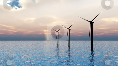 Wind Turbines at sea stock photo, CGI of 3 wind turbines by Tony Lott N??rnberger