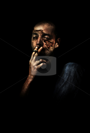 Smoking humanabe stock photo, Series of human expression and thoughts by Tony Lott N??rnberger