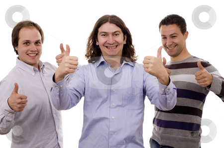 Serious men stock photo, Three happy business men ok sign white isolate by Marc Torrell