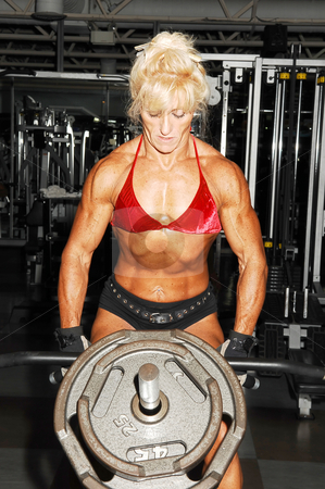 Bodybuilding woman.  stock photo, An very muscular blond bodybuilding woman shoos her muscles on the  tummy and arms in the gym in front of the equipment. by Horst Petzold
