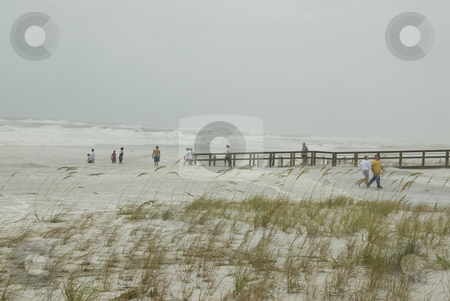 Flooding Surf stock photo, PENSACOLA - SEP 1: People become engulfed in surf as it breaks far up on the beach during Hurricane Gustav on September 1, 2008. Gustav generated a storm surge of 15 feet. by A Cotton Photo