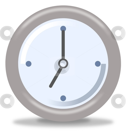 Clock Seven stock photo, Silver and blue clock on white background showing seven by Henrik Lehnerer