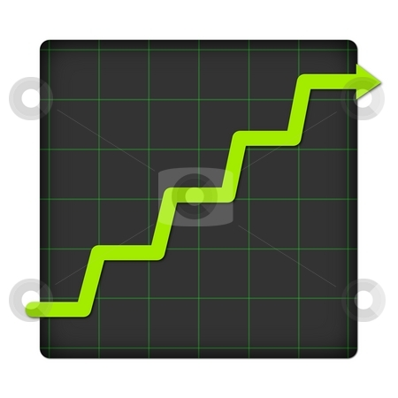 Icon Statistic Up stock photo, Icon statistic with graph on white background by Henrik Lehnerer