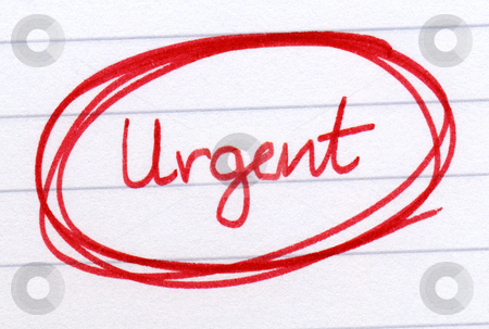 Urgent circled in red ink on white paper. stock photo, Urgent circled in red ink on white paper. by Stephen Rees