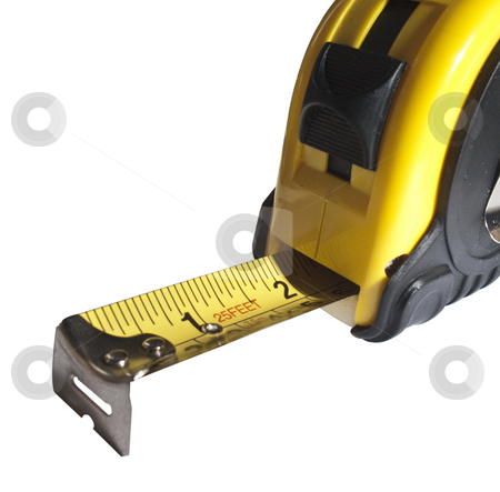 Tape measure slightly extended stock photo,  by Stephen Clarke