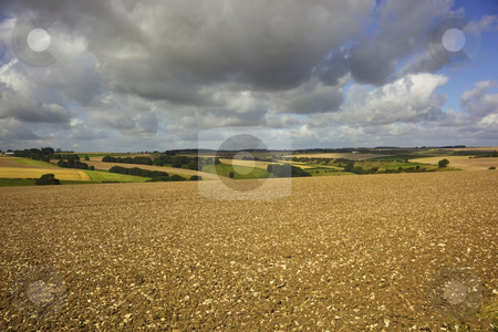 Wolds view stock photo, Rain clouds over chequered hillside by Mike Smith