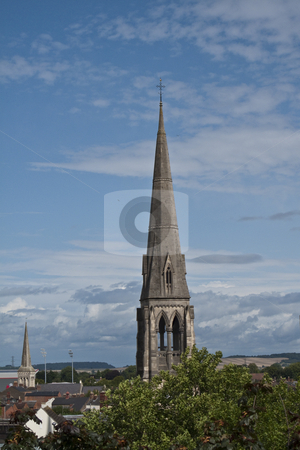 Church Steeple on Skyline stock photo, A church steeple standing out on a lovely blue sky by Stephen Clarke