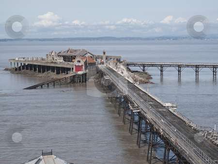 Birnbeck Pier, Weston Super Mare stock photo, The Old Birnbeck Pier of Weston Super Mare, Somerset.  this pier has been left and neglected over the years.  In 2008 it was purchased by new owners who have plans to revive it....watch this space !! by Stephen Clarke