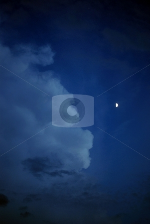 Night time sky stock photo, Night time clouds with the g;ow of the moon by Charles Bacon jr