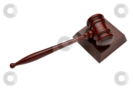 Courtroom gavel stock photo, Wooden gavel shot on white background by James Barber