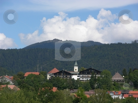 Village in Bavaria stock photo, Village Bodenmais in Bavaria in front of the mountain Arber, highest mountain of the Bavarian forest by Robert Biedermann