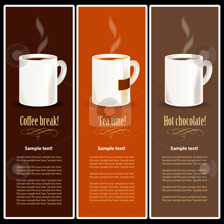 Banner stock vector clipart, Coffee, Tea and Chocolate hot drinks by Jaka Verbic Miklic