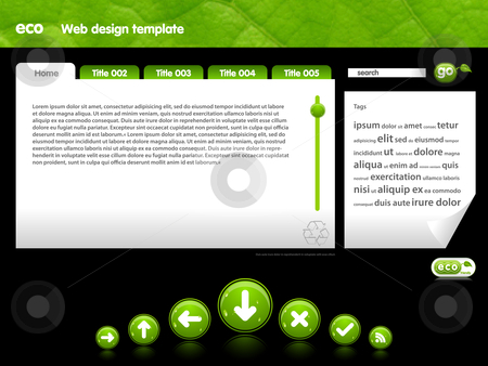 Eco Web template  stock vector clipart, Web template with added buttons slider in ECO feel great for green-thinking people by Jaka Verbic Miklic