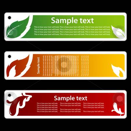 Leaf, flame and paint banners stock vector clipart, Simple but usable banners with place for your text. by Jaka Verbic Miklic