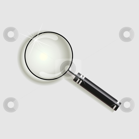 Magnify glass  stock vector clipart, Magnify glass with mahogany and silver handle by Jaka Verbic Miklic