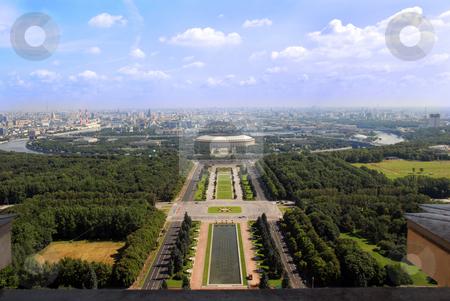 Moscow cityscape stock photo, Cityscape of Moscow, university Lomonosov park and urban landscape by Julija Sapic