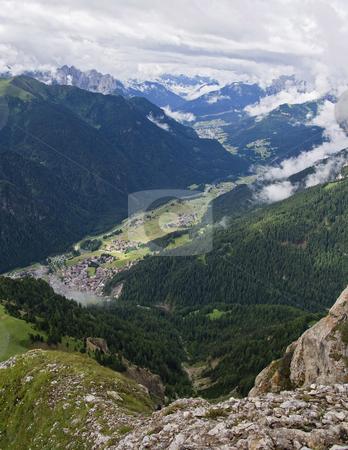 Val di fassa stock photo, Fassa valley panorama from col Rodella in Trentino. italian Dolomiti by ANTONIO SCARPI