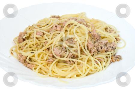 Spaghetti with tuna stock photo, Italian dish of spaghetti with tuna and origanum on white background by ANTONIO SCARPI