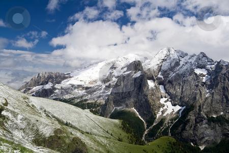 Marmolada  summer snow stock photo, Summer snow in Marmolada, famous dolomites mountain, Trentino, Italy. Photo taken with polarizer filter by ANTONIO SCARPI