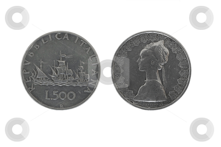 Caravels silver coins stock photo, Old 500  italian silver coins isolated on white background by ANTONIO SCARPI