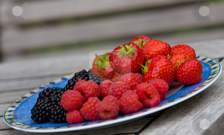 Fruit stock photo, Selection of fresh summer berries by Karen Arnold