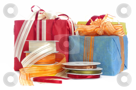 Gift stock photo, Colorful gifts in front of a white background by Carmen Steiner