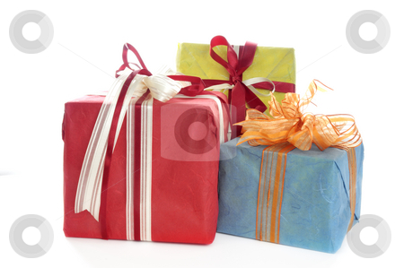 Gift box stock photo, Gift boxes in front of a white background by Carmen Steiner