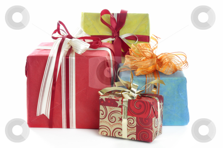 Xmas gifts stock photo, Christmas gifts in front of a white background by Carmen Steiner