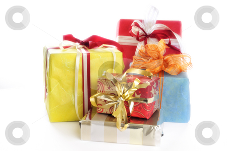 Colorful gifts stock photo, Colorful gifts in front of a white background by Carmen Steiner