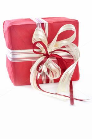 Red gift stock photo, Red gift in front of a white background by Carmen Steiner