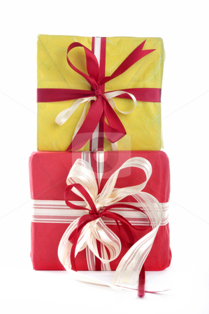 Two gifts stock photo, Two gift in front of a white background by Carmen Steiner
