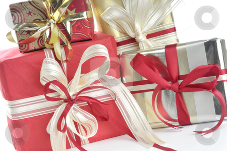 Christmas packages stock photo, Christmas packages in front of a white background by Carmen Steiner