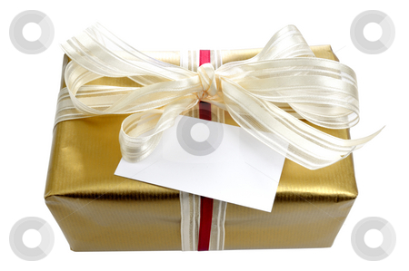 Golden gift with card stock photo, Golden gift with card in front of a white background by Carmen Steiner