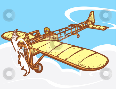 Bleriot in Flight stock vector clipart, Early 20th century Bleriot airplane in flight. by Jeffrey Thompson
