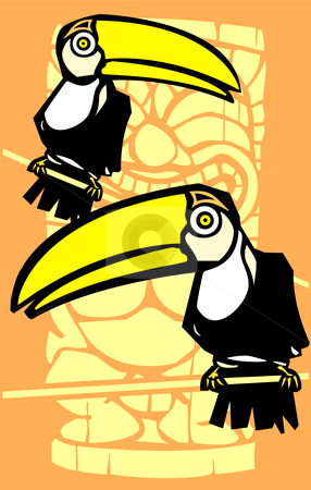 Two Toucans and Tiki stock vector clipart, Tropical toucan birds with retro tiki in background. by Jeffrey Thompson