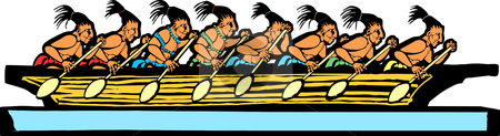 Mayan Canoe stock vector clipart, Mayan canoe done in temple mural style. by Jeffrey Thompson
