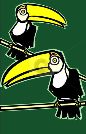Two Toucans stock vector clipart, Two tropical toucan birds on green background looking out. by Jeffrey Thompson