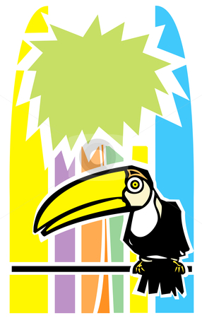 Toucan and Palm Tree stock vector clipart, Tropical toucan bird with stylized palm tree in background. by Jeffrey Thompson