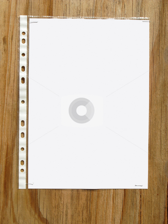 Blank paper in a plastic sleve stapled to a wood board. stock photo, Blank paper in a plastic sleeve stapled to a wood board. by Stephen Rees