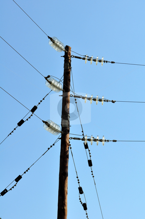 Electrical pole stock photo, Electrical power pole and lines in rural area by Fernando Barozza